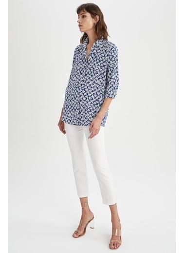 DeFacto Desenli Gömlek Tunik Lacivert